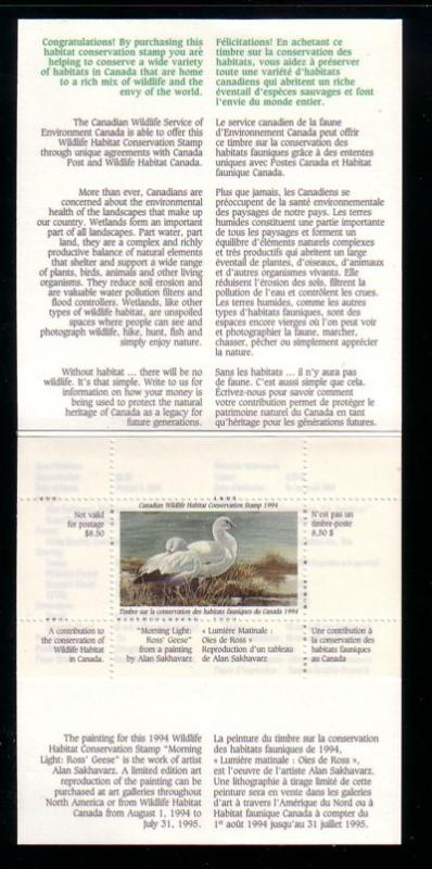 Canada 1994 Ross' Geese stamp booklet mint NH