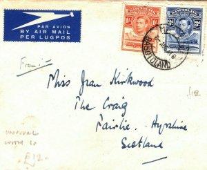 BASUTOLAND Cover Maseru UNUSUAL 1s Air Mail GB Scotland Paisley 1946 LS18