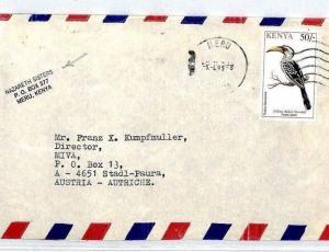 Kenya Cover *NAZARETH SISTERS* Cachet 1995 Meru Missionary Mail BIRDS MIVA CM83