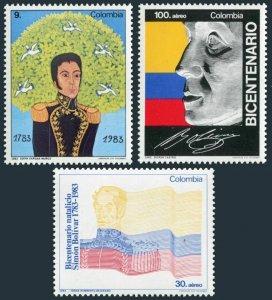 Colombia 922,C736-C737,MNH.Mi 1615-1617. Simon Bolivar,200th birth Ann.1983.