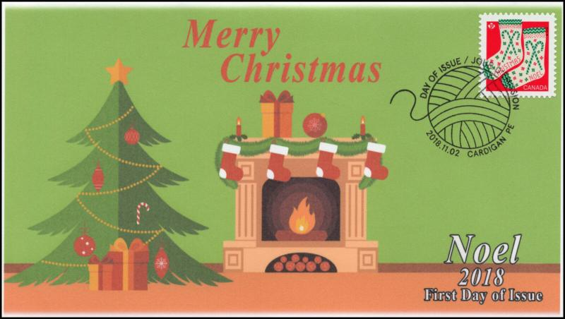 CA18-056, 2018, Christmas, Pictorial Postmark, First Day Cover, Noel, Stockings