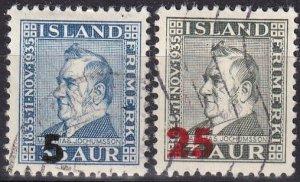 Iceland #231, 236  F-VF Used CV $3.20  (Z8007)