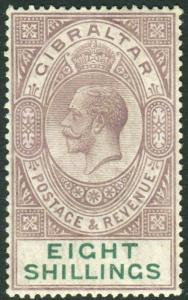 GIBRALTAR-1921-27 8/- Dull Purple & Green A lightly mounted mint example Sg 101