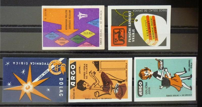 Yugoslavia Match Box Labels ! fair woman textile messe soup N7