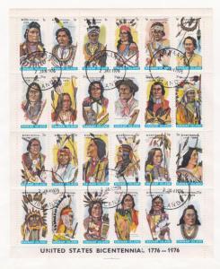 Duvaar Island, US Bicentennial, 20 Differernt Stamps of American Indians