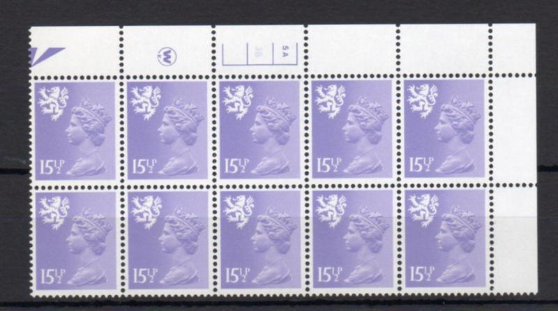 151/2p SCOTLAND REGIONAL UNMOUNTED MINT PLATE 5A 3B BLOCK Cat £110