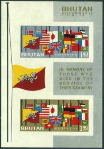 Bhutan 33a imperf,MNH.Michel 43-44 Bl.2D. Flags of the World at Half-mast,1964.