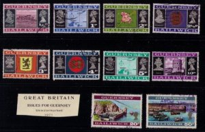 Guernsey,1971 Sc 41-55 Used Not A Complete Set(Lot of 10) Baldwick Issues F-VF