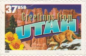 US 3739 Greetings from Utah 37c single (1 stamp) MNH 2002