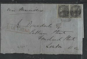INDIA COVER (P2612B)   4A BLACK PAIR COVER INDIA PAID TO LONDON