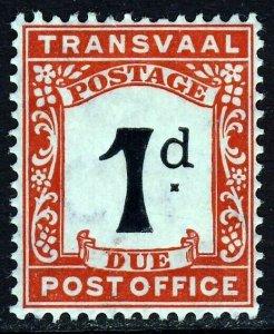 TRANSVAAL 1907 1d. Black & Scarlet POSTAGE DUE Wmk Crown CA SG D2 MINT