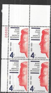 US #1163 Boys Clubs 4c Plate Block of 4 (MNH) CV $1.00