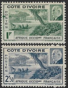 IVORY COAST 1941 Marshal Petain VICHY Government Set INK BLOB Var Sc 165-166 MH