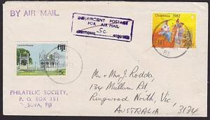 FIJI 1983 Airmail cover held for additional postage & 5c added.............5986