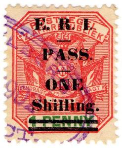(I.B) Transvaal Revenue : Native Pass 1/- on 1d OP