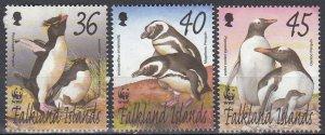 Falkland Islands, Sc 817-819, MNG, 2002, Penguins