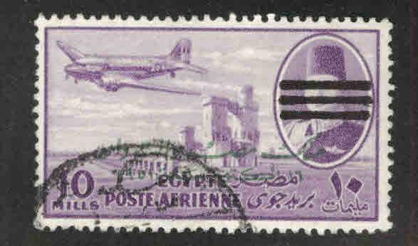 EGYPT Scott C83 Used 1953 Bar obliterated and overprinted airmail