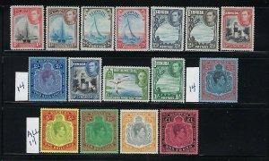 BERMUDA SCOTT #118-128/109-109A (SG #116-121) GEORGE VI- MINT NEVER/LIGHT HINGED