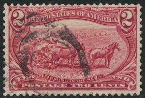Scott 286- Used- Trans Mississippi Expo, 2c Farming in the West, 1898 Old Stamp