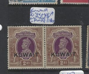 KUWAIT   (PP1501B)  ON INDIA KGVI 2R EXTENDED T IN PR SG 48-48A SHORT PR  MNH