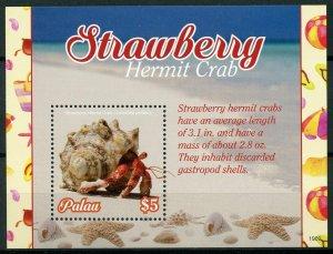 Palau 2019 MNH Strawberry Hermit Crab 1v S/S Crabs Marine Animals Stamps