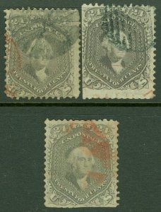 EDW1949SELL : USA 1863 Scott #78. 3 copies Used with Red cancels. Catalog $1,125