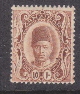 ZANZIBAR, 1908 10c. Brown, lhm.