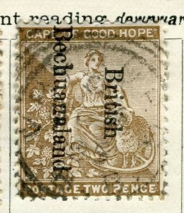 BECHUANALAND; ; 1890s early classic QV Cape Good Hope Optd. issue used 2d.