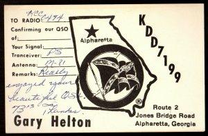 QSL QSO RADIO CARD KDD7199,Gary Helton, Alpharetta, Georgia (Q3607)