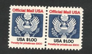 O132 Official Mail $1.00 US Pair Mint/nh FREE SHIPPING