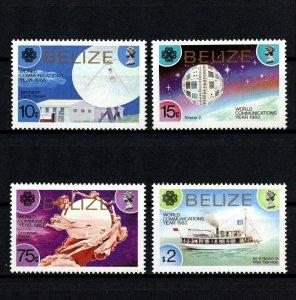 BELIZE - 1983 - WORLD COMMUNICATION YEAR - SATELLITE - MAIL BOAT + MINT MNH SET!