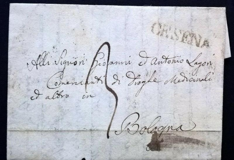 Italy Italia 1840 Entire CESENA to BOLOGNA Postal History Cover - Free UK Post