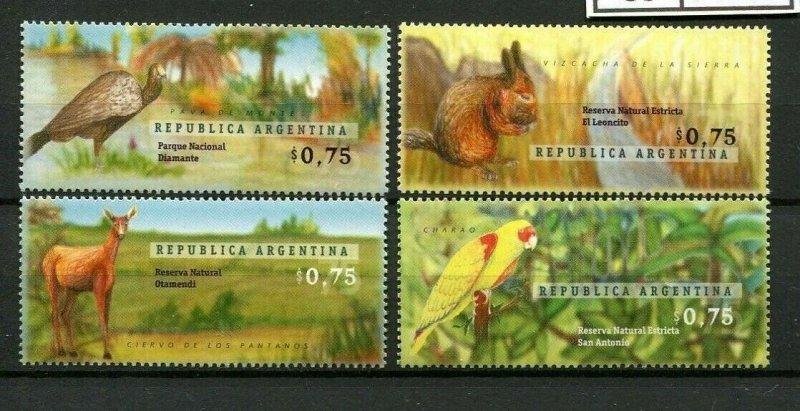 Argentina 1996 wild animals fauna national parks birds set of 4v MNH