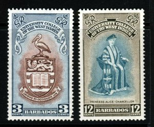 BARBADOS King George VI 1951 B.W.I. University College Set SG 283 & SG 284 MNH