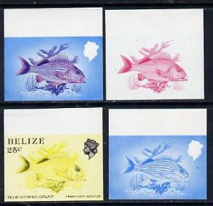 Belize 1984-88 Blue-striped Grunt 25c def imperf progress...