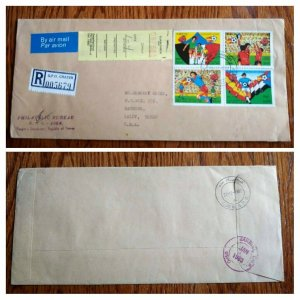 """RARE YEMEN P.D.R """"FOOTBALL CUP"""" SPAIN VICTORY 1982 STAMPS """"REGISTERED"""" COVER"""