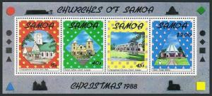 Samoa 750a,MNH.Michel Bl.45. Christmas 1988.Churches of Samoa.
