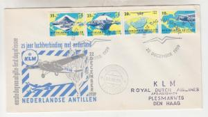 NETHERLANDS ANTILLES, CURACAO, 1959 KLM 25th. Anniv set of 4 on fdc.