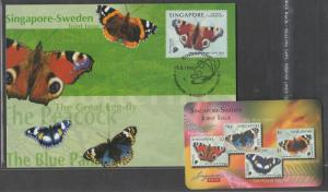 Singapore 1999 Peacock Butterfly on Card SG#999