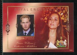 BEQUIA  ENGAGEMENT OF PRINCE WILLIAM & KATE MIDDLETON  IMPERF S/SHEET II  NH