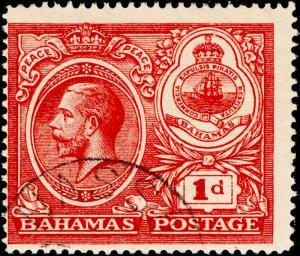 BAHAMAS SG107, 1d carmine, FINE USED. CDS