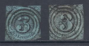 Thurn & Taxis Sc 43, 44 used 1852-1853 3kr Numerals on 2 diff papers