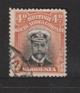 Rhodesia  a used KGV 4d die 1 perf 14