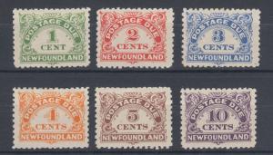 Newfoundland Sc J1-J6, MLH. 1938-48 Postage Dues, complete set