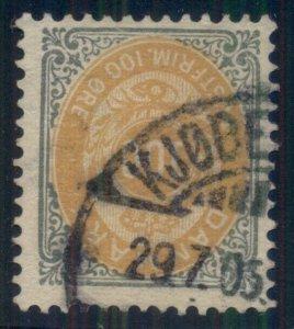 DENMARK #34, 100ore bicolor, used, VF, Scott $60.00