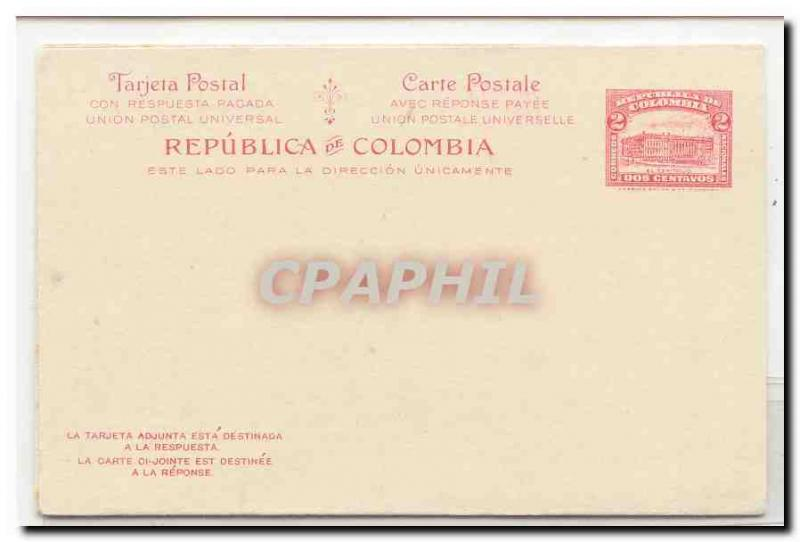 Postal Colombia card #21 Msg & reply MINT (whole postal stat