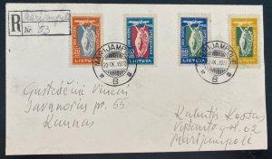 1922 Marijampole Lithuania Early Airmail Registered cover To Kaunas Sc#C8-11