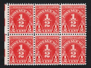 US SCOTT #J79 ⭐ ½C POSTAGE DUE ⭐ BLOCK OF 6 ⭐ ELECTRIC EYE PLATE