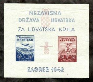 x022 - CROATIA 1942 WW2 NDR Souvenir Sheet. Imperf MNH. Za Hrvatska Krila