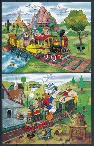 [105799] Dominica 1987 Railway trains Disney Donald Duck 2 Souv. Sheets MNH